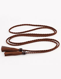 Fashion Coffee Wooden Beads Fringed Thin Belt