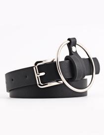 Fashion Black + Pendant Round Hanging Ring Pin Buckle Fine Skin