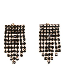 Fashion Black Fringed Diamond Earrings