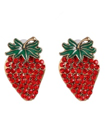 Fashion Red Diamond Stereo Stud Earrings