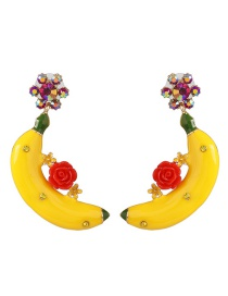 Fashion Red Banana Flower Stud Earrings