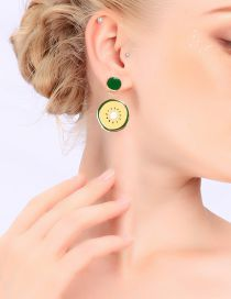 Fashion Gold 925 Silver Needle Drop Kiwi Earrings