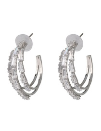 Fashion Silver C-type Alloy Diamond Earrings