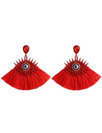 Fashion Red Big Eye Fringed Stud Earrings