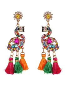Fashion Color Flamingo Fringed Stud Earrings