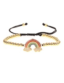 Fashion Gold Micro-inlaid Diamond Zircon Rainbow Drawn Bead Bracelet