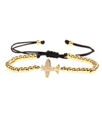 Fashion Gold Micro-inlaid Zircon Aircraft Pull Box Chain Bracelet