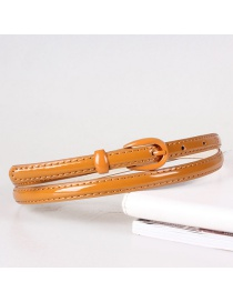 Fashion Camel Imitation Leather Alloy Pin Buckle Fine Belt