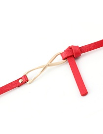Fashion Red Double-sided Knotted Thin Belt