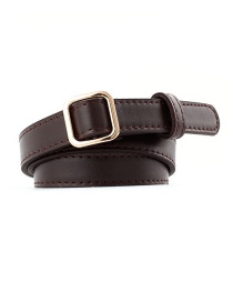 Fashion Coffee Square Buckle Without Needle Free Punching Thin Belt