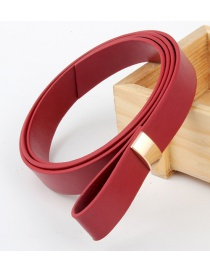 Fashion Red Pu Leather Knotted Soft Belt