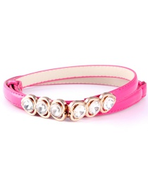 Fashion Rose Red Buttoned Heart-shaped Diamond Buckle Buckle Adjustment Belt