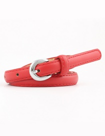 Fashion Red Pu Alloy Buckle Thin Belt