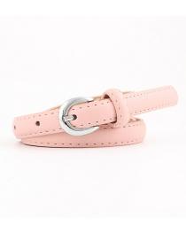 Fashion Pink Pu Alloy Buckle Thin Belt