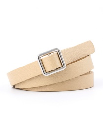 Fashion Beige Needle-free Square Buckle Knotted Strap Double-sided Thin Belt