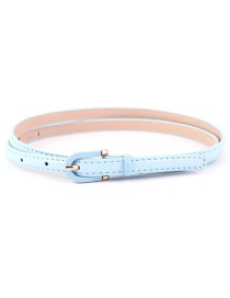 Fashion Light Blue Pin Buckle Imitation Leather Belt