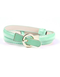 Fashion Light Green Pin Buckle Adjustment Fine Belt