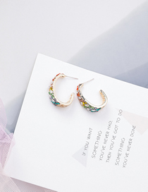 Fashion C-shaped Gradient Diamond-studded Star Earrings