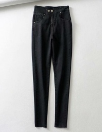 Fashion Black Washed 2 Buttons With Irregular Raw Jeans