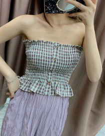 Fashion Color Plaid Collar Wrap Vest