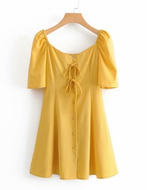 Fashion Yellow Lace-up Single-breasted Dress