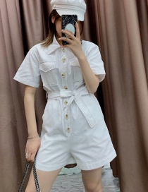 Fashion White Open Line Lapel Tie With Shorts