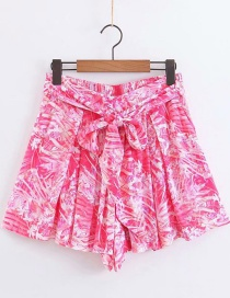 Fashion Pink Flower Printed Lace Shorts
