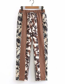 Fashion Coffee Color Flower Print Plaid Panel Strap Straight Pants