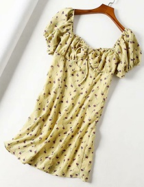 Fashion Yellow Floral Elastic Drawstring Square Collar Dress