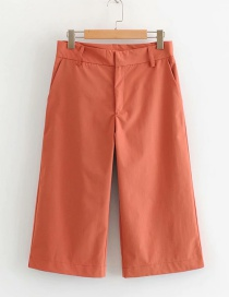 Fashion Brick Red Cropped Straight Pants