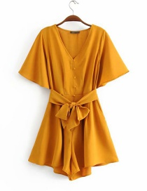 Fashion Ginger Yellow Belt V-neck Single-breasted Lace Jumpsuit