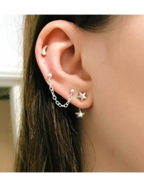Fashion Silver Chain Star Moon Five-pointed Star Alloy Stud Earring Set