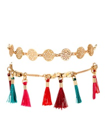 Fashion Color Hollow Round Rice Beads Fringed Double Alloy Anklet