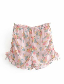 Fashion Pink Printed Chiffon Ruffled Tethered Pajama Pants