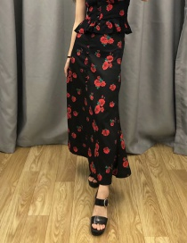 Fashion Black Rose Printed Single-breasted Skirt