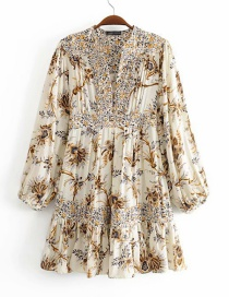 Fashion Beige Printed Side Zip V-neck Dress