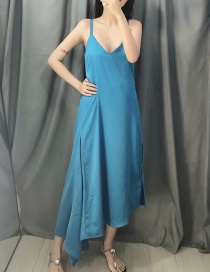 Fashion Blue Silk Satin Strapless Open Back Irregular Dress