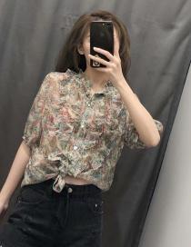 Fashion Green Flower Print Ruffled Shirt