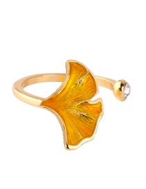 Fashion Yellow Oil Drop Leaf With Diamond Open Ring