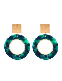 Fashion Green Ring Acrylic Brass Stud Earrings
