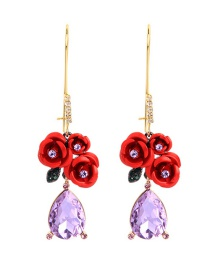 Fashion Red Flower Drop Diamond Earrings
