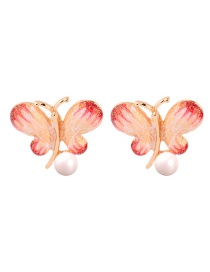 Fashion Red S925 Silver Needle Butterfly Drop Oil Earrings