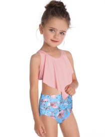 Fashion Powder On The Flower Double Flashing Print Children's Swimsuit