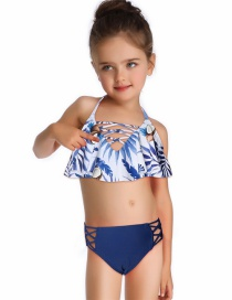 Fashion Flower Under Blue Printed Ruffled Children's Split Swimsuit