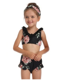 Fashion Black Wooden Ear Print Children's Split Swimsuit