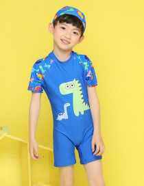 Fashion Royal Blue Dinosaur Monster Children's One Piece Swimsuit