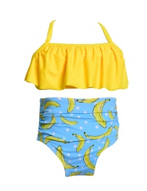 Fashion Yellow Fruit Print Children's Swimwear