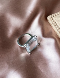 Fashion Silver A S Crystal Ice Cube Transparent Ring