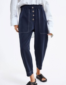 Fashion Blue Button 9 Pants