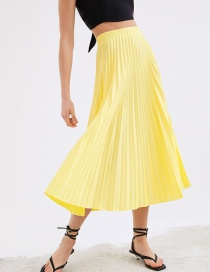 Fashion Yellow Pleated Skirt